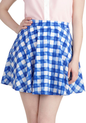 Blueberry Fizz Skirt - Blue, White, Checkered / Gingham, Daytime Party, A-line, Short, Spring, Summer