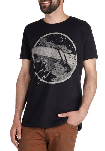 Here's Looking at You, Squid Tee - Cotton, Mid-length, Black, Casual, Short Sleeves, Crew, Grey, Novelty Print, Jersey
