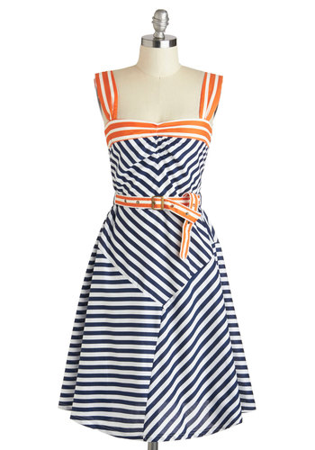 Every Which Wave Dress - Nautical, Cotton, Long, Orange, Blue, White, Stripes, Belted, Casual, A-line, Tank top (2 thick straps), Sweetheart