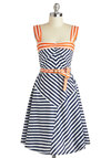 Every Which Wave Dress - Nautical, Cotton, Long, Orange, Blue, White, Stripes, Belted, Casual, A-line, Tank top (2 thick straps), Sweetheart, Daytime Party