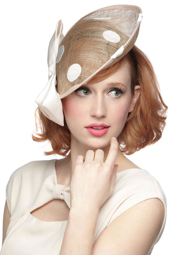 Topped With Dots Hat - International Designer, Tan, Polka Dots, Bows, Wedding, Daytime Party, Statement