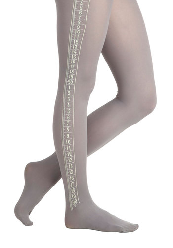 Measure for Measurement Tights - Grey, White, Novelty Print, Quirky