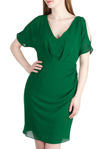 Tailor Jade For You Dress - Green, Solid, Cutout, Party, Short Sleeves, Short, Holiday Party