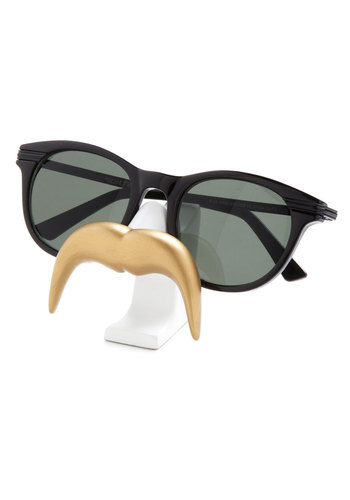 Temporary Mu-stash Glasses Stand in Handlebar - Gold, White, Solid, Quirky