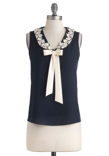 Gotta Runway to the Office Top - Mid-length, Blue, Tan / Cream, Solid, Lace, Peter Pan Collar, Tie Neck, Work, Vintage Inspired, Sleeveless, Collared, Summer, Blue, Sleeveless, Lace