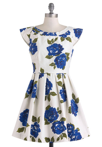 Sculpture Under the Stars Dress by Mink Pink - White, Blue, Floral, Pleats, Daytime Party, A-line, Cap Sleeves, Spring, Short, Pockets, Boat, Vintage Inspired, Graduation