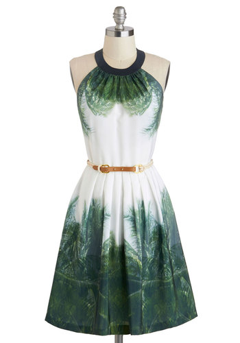 Cabana Cotillion Dress - Long, Green, Print, Pockets, Belted, Party, Halter, Crew, Beach/Resort, Luxe, Summer, Graduation, White