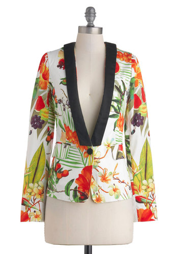 The Nectar Step Jacket - Floral, Trim, Long Sleeve, Cotton, Mid-length, Daytime Party, Beach/Resort, Spring, Multi, Orange, White, Black