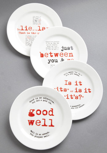 Gourmet Grammarian Plate Set - White, Red, Black, Novelty Print, Wedding, Daytime Party, Better