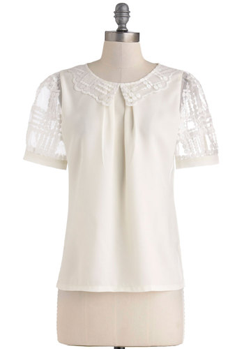Lecture Hall Assistant Top - White, Lace, Scholastic/Collegiate, Short Sleeves, Collared, Sheer, Mid-length, Work