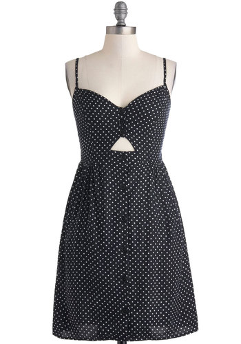 No Other Way Dress - Black, White, Polka Dots, Buttons, Cutout, Casual, A-line, Button Down, Spaghetti Straps, Daytime Party, Beach/Resort, Rockabilly, Vintage Inspired, Mid-length, Pockets