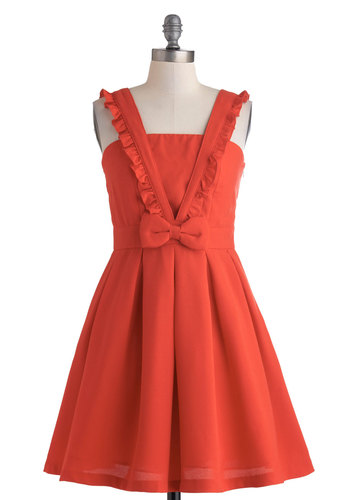 Pinafore Your Thoughts Dress - Mid-length, Red, Solid, Bows, Pleats, Ruffles, Party, Fit & Flare, Tank top (2 thick straps), Daytime Party, Vintage Inspired, Summer