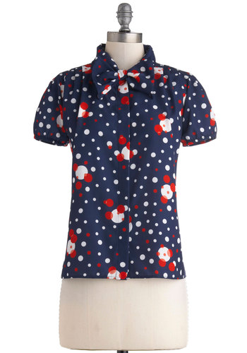 Hire Expectations Top - Mid-length, Blue, Polka Dots, Bows, Buttons, Tie Neck, Work, Vintage Inspired, Short Sleeves, 60s, Exclusives