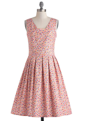Candy Shop Sock Hop Dress by Myrtlewood - Long, Cotton, Pink, Multi, Polka Dots, Pleats, Party, A-line, Tank top (2 thick straps), Daytime Party, Vintage Inspired, 50s, Exclusives, Private Label