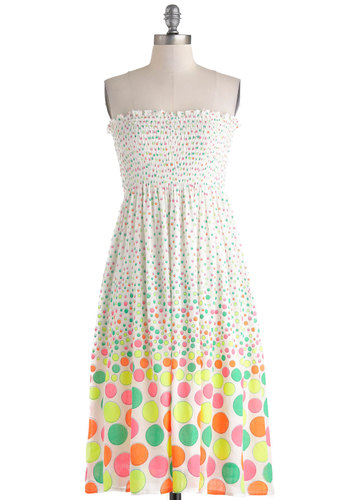Highlight of Your Life Dress - Mid-length, Polka Dots, Casual, Empire, Strapless, Mod, Summer, Multi, Neon