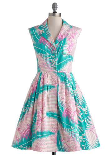 Bake Shop Browsing Dress in Palms by Emily and Fin - Mid-length, Cotton, Blue, Pink, Floral, Buttons, Pockets, Casual, A-line, Sleeveless, Collared, Beach/Resort, Vintage Inspired, 50s, Summer
