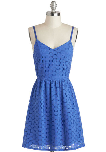 Lakeside Picnic Dress - Mid-length, Blue, Solid, Eyelet, Casual, A-line, Spaghetti Straps, Sweetheart, Cotton, Summer