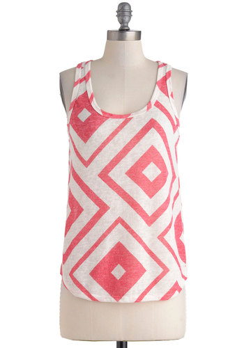 Home Run of the Day Top - White, Print, Casual, Scoop, Pink, Summer, Sheer, Travel, Mid-length, Tank top (2 thick straps)