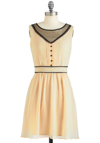 Sunday Salutations Dress - Mid-length, Pink, Black, Solid, Buttons, Trim, Vintage Inspired, A-line, Sleeveless, Party, Film Noir, Pastel