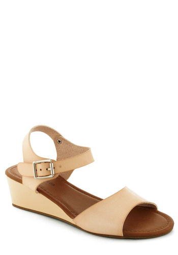 As Good as Neutral Wedge - Tan, Solid, Summer, Low, Wedge, Daytime Party, Spring, Faux Leather