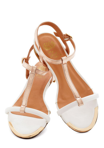 Rose Gold Medal Sandal - Flat, White, Gold, Luxe, Summer, Daytime Party, Beach/Resort
