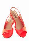 Neon Peach Trees Flat - Orange, Solid, Neon, Peep Toe, Slingback, International Designer, Casual, Daytime Party, Summer, Flat