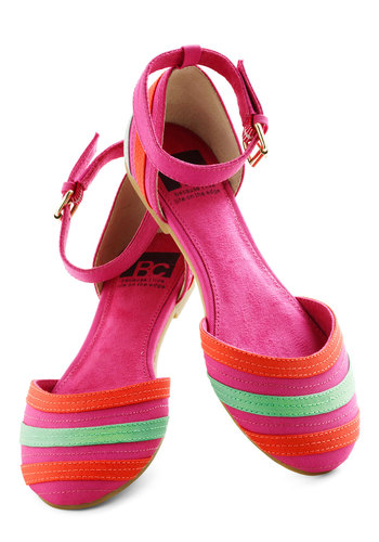 See You Soon Flat in Magenta by BC Footwear - Pink, Multi, Stripes, Flat, Spring, Variation