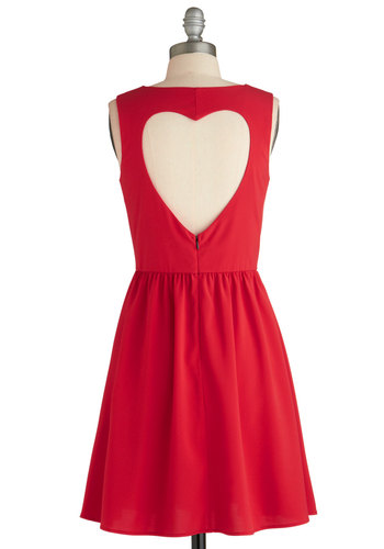 Heart on Your Sleeveless Dress - Mid-length, Red, Solid, Backless, Pleats, Party, A-line, Sleeveless, Collared