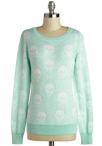 Right Attitude Sweater in Mint - Mint, White, Knitted, Casual, Long Sleeve, Mid-length, Novelty Print, Pastel, Winter, Travel, Fall, Top Rated