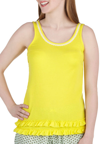 Lemon Lime Only Sleeping Top by Kensie - Yellow, Solid, Lace, Ruffles, Trim, Tank top (2 thick straps), Casual
