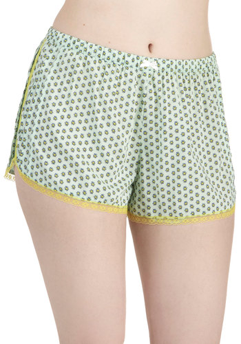 Lemon Lime Only Sleeping Shorts by Kensie - Print, Bows, Lace, Trim, Green, Yellow, Multi
