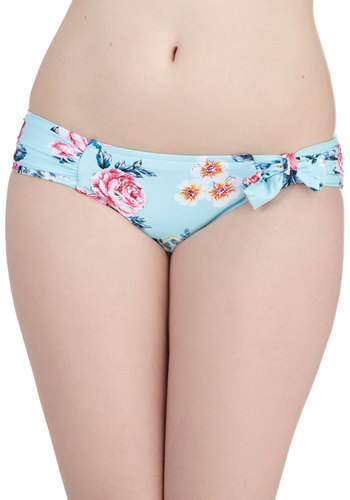 Floating Along Swimsuit Bottom by Seafolly - Blue, Floral, Beach/Resort, International Designer, Yellow, Pink, Bows, Summer, Pastel