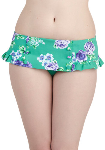 Sailing in the Sun Swimsuit Bottom by Seafolly - Green, Multi, Floral, Buttons, Pleats, Beach/Resort, International Designer, Purple, Summer