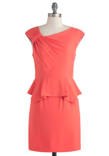 Array of Light Dress - Mid-length, Coral, Solid, Ruching, Daytime Party, Shift, Cap Sleeves, Minimal, Work