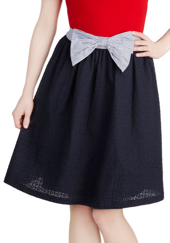 Work Your Way Up Skirt - Mid-length, Blue, Solid, Bows, Work, A-line, Spring, Blue