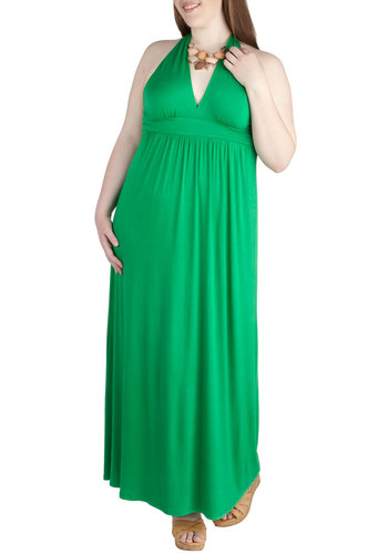 Wander by the Water Dress in Plus Size - Green, Solid, Casual, Maxi, Halter, V Neck, Daytime Party, Beach/Resort, Minimal, Empire, Summer, Jersey, Exclusives