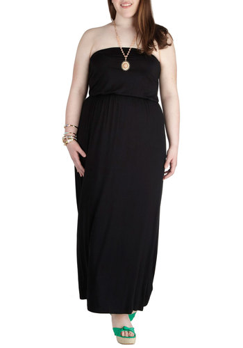 BBQ Cutie Dress in Plus Size - Jersey, Black, Solid, Casual, Maxi, Strapless, Beach/Resort, Summer, Basic, Exclusives