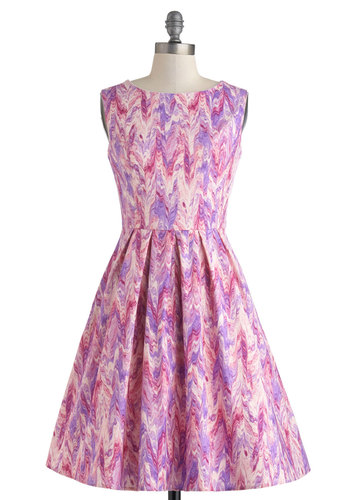 Chalk of the Town Dress by Myrtlewood - Cotton, Pink, Purple, White, Print, Pleats, Pockets, Daytime Party, Sleeveless, Boat, Fit & Flare, Spring, Exclusives, Private Label, Press Placement, Maternity, Full-Size Run, Mid-length