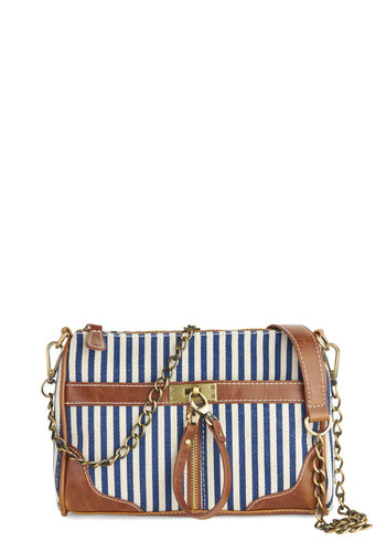 Festival Booth Browsing Bag - Tan / Cream, Stripes, Exposed zipper, Nautical, White, Blue