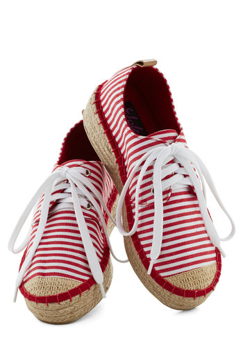 Coconut Cocktails Sneaker - Red, White, Stripes, Nautical, Platform, Wedge, Lace Up, Low, Spring, Summer