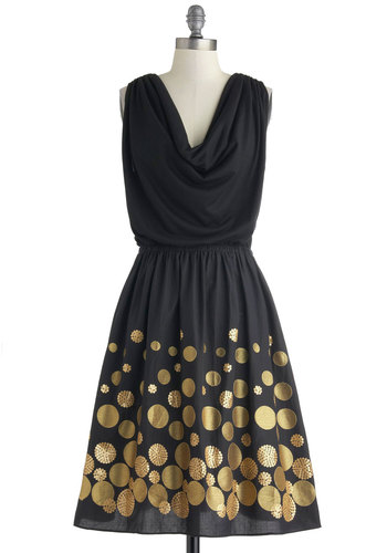 Trevi Metal Dress - Black, Gold, Polka Dots, Cutout, Sequins, Cocktail, A-line, Sleeveless, Cowl