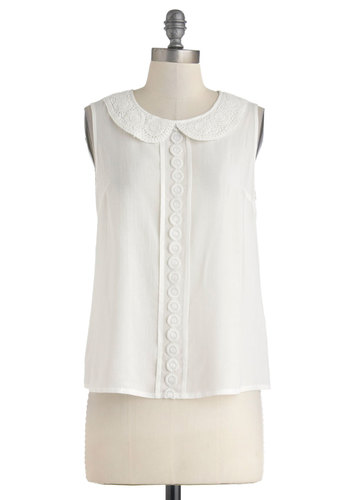 Charming Companion Top - White, Solid, Peter Pan Collar, Work, Daytime Party, Vintage Inspired, Sleeveless, Sheer, Mid-length, Collared, Summer, Woven
