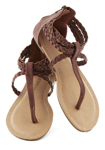 Step Up to the Plait Sandal - Brown, Solid, Braided, Beach/Resort, Boho, Vintage Inspired, 70s, Summer, Flat