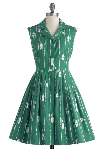 Bake Shop Browsing Dress in Grass by Emily and Fin - Cotton, Mid-length, Green, White, Floral, Buttons, Pockets, Casual, Shirt Dress, Sleeveless, Collared, Vintage Inspired, 50s, Spring, Woven
