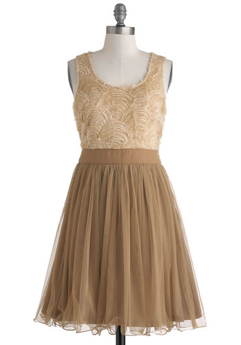 Opening Night to Remember Dress - Tan, Brown, A-line, Tank top (2 thick straps), Scoop, Mid-length, Wedding, Party, Bridesmaid
