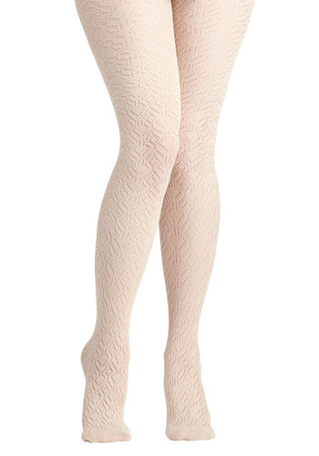 Pleasant Feather We're Having Tights - Cream, Solid, Crochet, International Designer, Sheer, Formal