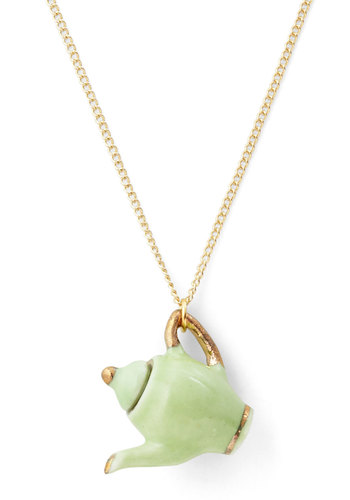 Just Brew It Necklace - Fairytale, International Designer, Green, Gold, Solid, Pastel, Gold, Top Rated
