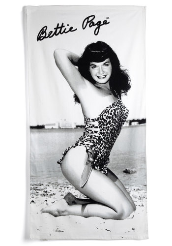 Spotted on the Shore Towel - Black, White, Pinup, Vintage Inspired, Beach/Resort, Travel