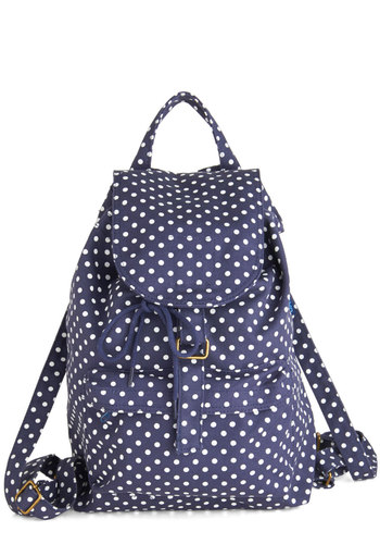 Spotted on the Trail Backpack by Baggu - Cotton, Blue, White, Polka Dots, Scholastic/Collegiate, Buckles, Travel, Summer, Work