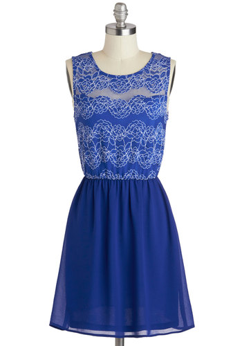 Another Day, Another Dahlia Dress - Blue, White, Solid, Lace, Party, A-line, Tank top (2 thick straps), Scoop, Short